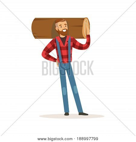 Strong lumberjack man holding downed log colorful character vector Illustration isolated on a white background