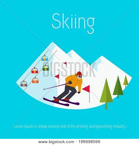 Mountains ski resort cable cars trees flags skier. Flat design