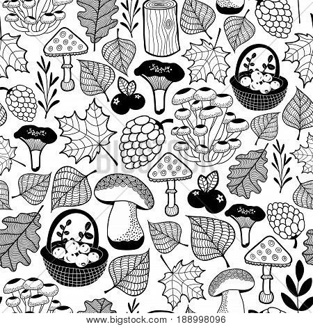 Black and white seamless pattern with autumn forest gifts. Vector background for coloring.