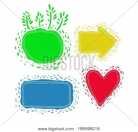 Set of doodle colorful banners. Vector bubble collection.