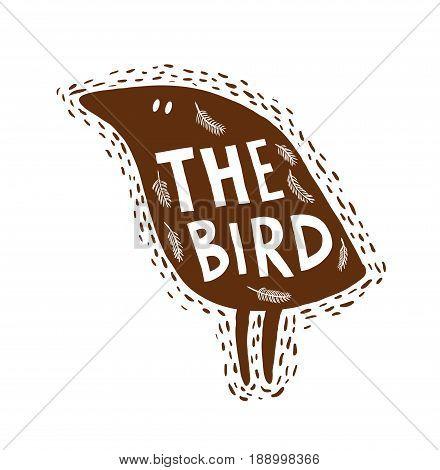 Hand drawn bird. Vector illustration of funny animal.