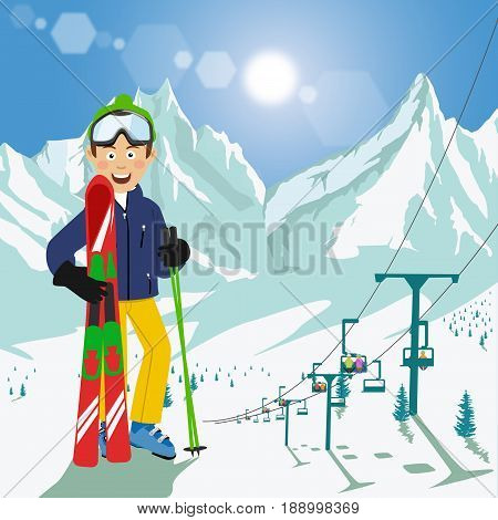 Young man with skis and poles standing in front of mountains with ski chair lift and bright sun in the ski resort