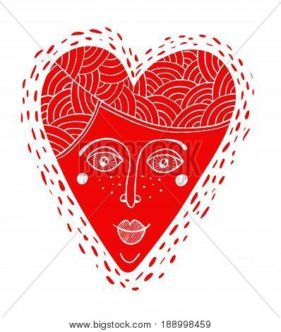 Decorative cartoon heart with the woman face. Vector illustration.
