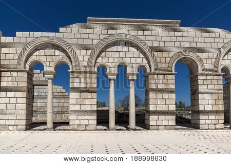 Ruins of The Great Basilica - largest Christian cathedral in medieval Europe near The capital city of the First  Bulgarian Empire Pliska, Bulgaria