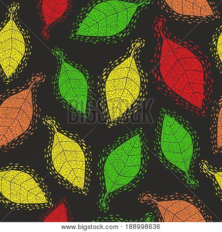 Seamless pattern with decorative autumn leaves. Vector background.