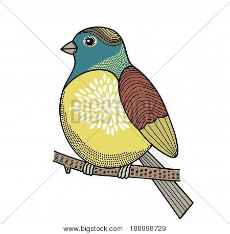 Colorful bird on the branch. Vector illustration.