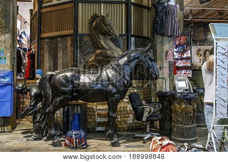 LONDON, GREAT BRITAIN - MAY 17, 2014: This is the Camden Lock Market which is located on the site of the previously existing stables.