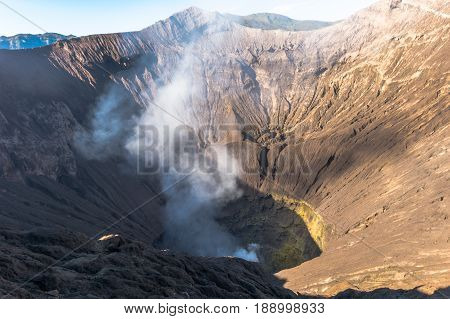 View into the Mount Bromo crater in Bromo Tengger Semeru National Park,East Java,Indonesia.Mount Bromo is one of the great stars of the Indonesian volcanos & one of the most active ones in Java,Indonesia