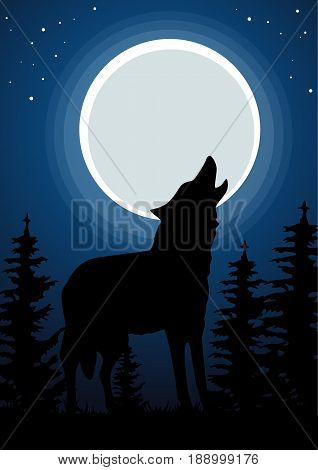 Wolf howling at the moon in the forest. Dark background