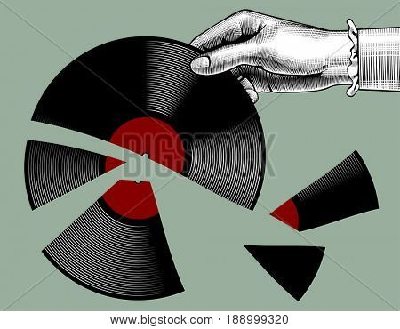 Woman's hand with a broken gramophone record. Retro music concept. Vintage stylized drawing