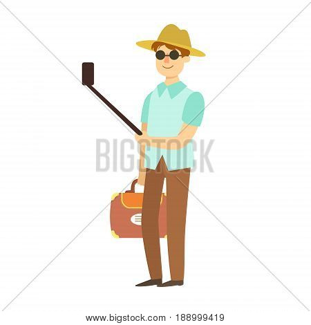 Young man with suitcase taking photos with smartphone and selfie stick. Summer travel and vacation. Colorful cartoon character isolated on a white background