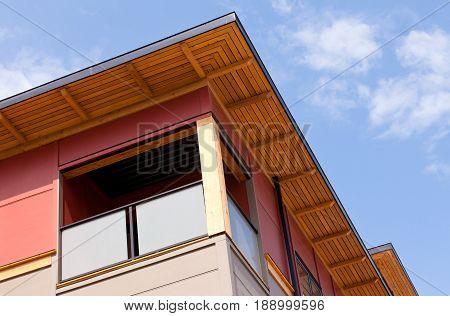 Modern Wood Clad Condo Building Exterior Detail