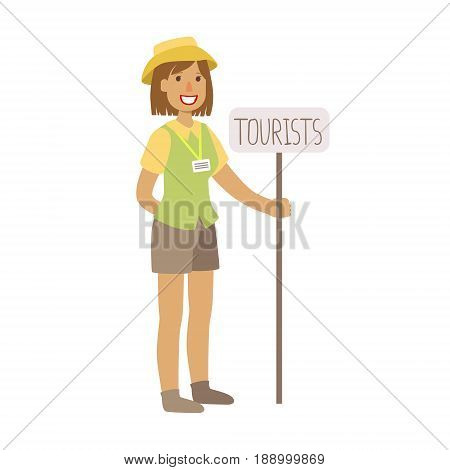 Tourist guide waiting for guests at the airoprt. Airport and travel. Colorful cartoon character isolated on a white background