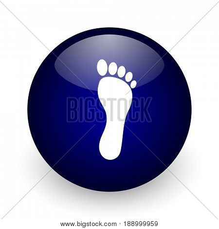 Foot blue glossy ball web icon on white background. Round 3d render button.
