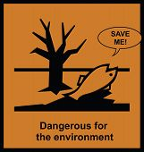 Dangerous to the environment sign with help message poster