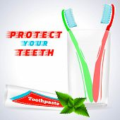 Teeth Protection, Medical Conception for Tooth Clinic.Red Toothbrush, Green Toothbrush in Toothbrush Glass.Toothpaste Tube, Spearmint Flavor with mint flavor leaves on simple White Gray Background poster