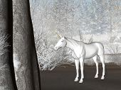 unicorn render in a winter forest poster