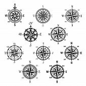 Compass isolated symbol set. Vintage compass and wind rose for navigation and orientation with cardinal directions North, East, South and West. Adventure travel, nautical chart, cartography design poster