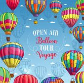 Hot air balloon tour or voyage poster. Vector design of inflated hopper balloons with zig zag, stripes or square patch pattern decor and air trip gondola for summer vacation travel poster