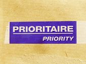 Priority - prioritaire mail label on a letter envelope poster