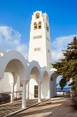 Fira Orthodox Metropolitan Cathedral or Cathedral Church of Candlemas of the Lord is the main othodox church in Fira Santorini island Cyclades in Greece poster