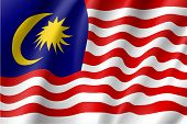 Waving flag of Malaysia is a member of Asean Economic Community AEC . Patriotic sign in official national country colors. Symbol of Southeast Asia state. Vector icon illustration poster