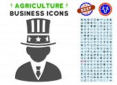Capitalist gray icon with agriculture business icon clipart. Vector illustration style is a flat iconic symbol. Agriculture icons are rounded with blue circles. poster