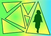 vector image of girl and triangle poster
