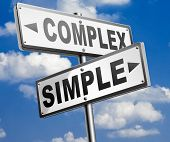 complex or simple the easy or the hard way decisive choice challenge making choice complicated road sign arrow 3D, illustration poster