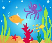 Fishes and octopus in water poster