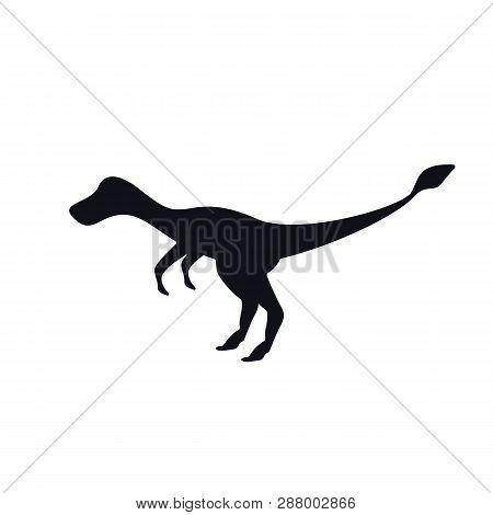 Velociraptors Black Silhouette On White. Simple Dinosaur Image