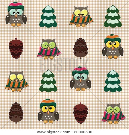 poster of Vector seamless winter checked pattern with little cute owls dressed scarfs and hats.