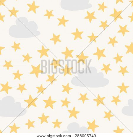Cute Seamless Baby Pattern With Stars And Clowds