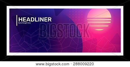 Vector Creative Bright Pink And Purple Horizontal Retro Illustration With Grid, Shape. Business Abst