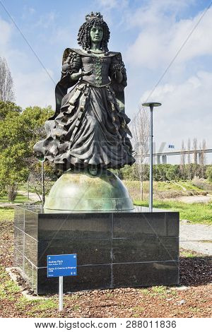 2 March 2018: Lisbon, Portugal - Statue Of Catherine Of Braganza, Wife Charles Ii, In The Park Of Na