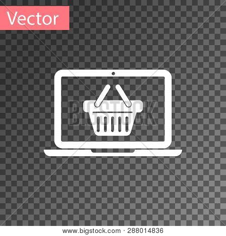 White Shopping Basket On Screen Laptop Icon Isolated On Transparent Background. Concept E-commerce,
