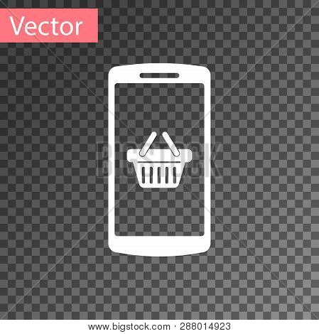 White Shopping Basket On Screen Smartphone Icon Isolated On Transparent Background. Concept E-commer