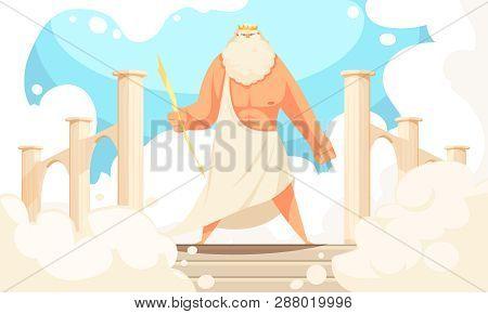 Greece Ancient Gods Flat Cartoon Image Of Powerful Mythological Zeus Prominent Figure In Pantheon Ba