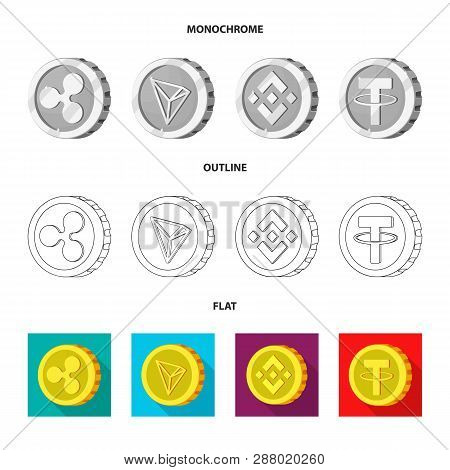 Vector Design Of Cryptocurrency And Coin Sign. Set Of Cryptocurrency And Crypto Stock Symbol For Web