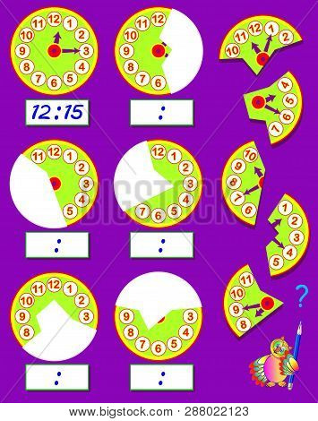 Logic Exercise For Children. Need To Find The Second Parts Of Clocks, Draw Them In Relevant Places A