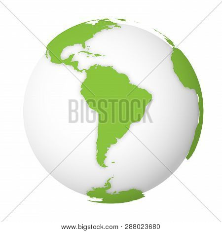 Natural Earth Globe. 3d World Map With Green Lands Dropping Shadows On White Globe. Vector Illustrat