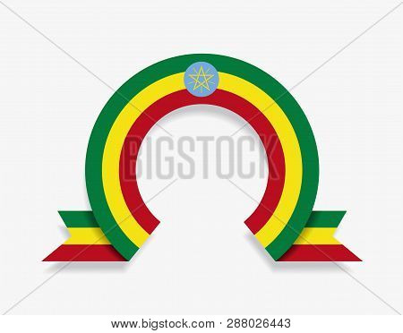 Ethiopian Flag Rounded Abstract Background. Vector Illustration.