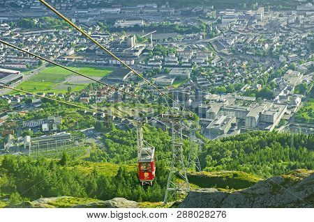 Bergen, Norway - July 19, 2018: Beautiful View With Ulriken Cable Car Seen From The Mount Ulriken In