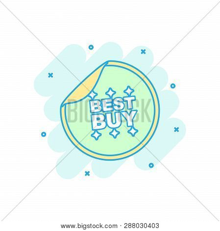 Cartoon Colored Best Buy Sticker Icon In Comic Style. Shopping Illustration Pictogram. Best Buy Sign