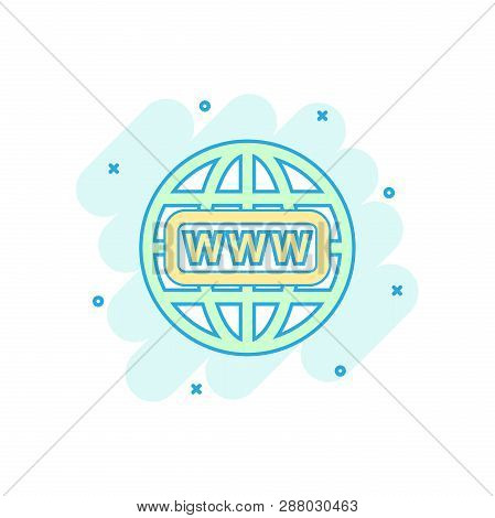 Cartoon Colored Go To Web Icon In Comic Style. Globe World Illustration Pictogram. Www Url Sign Spla