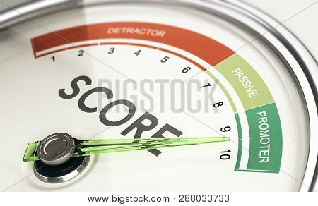Concept Of Kpi, Key Performance Indicator, Net Promoter Score Gauge With Needle Pointing To Promoter