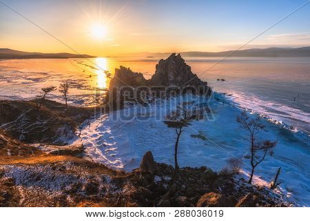 Landscape View Of The Mountain Shamanka Cape In Sunset Sky, Burkhan Island Olkhon At Baikal Lake, Ru