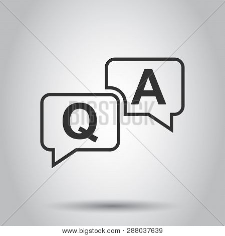 Question And Answer Icon In Flat Style. Discussion Speech Bubble Vector Illustration On White Backgr