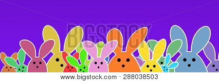 Easter Bunnies As Illustration On Lilac Colored Background With Soft Yellow Glow. Playful Easter Bun