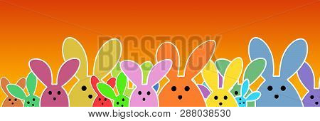 Easter Bunnies As Illustration On Orange Colored Background With Soft Yellow Glow. Playful Easter Bu